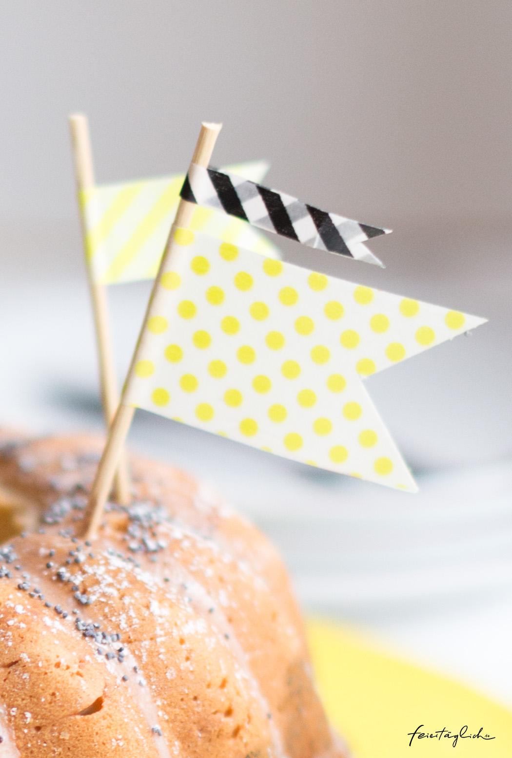 Cake-Topper, DIY mit Washi Tape, Kuchendekoration
