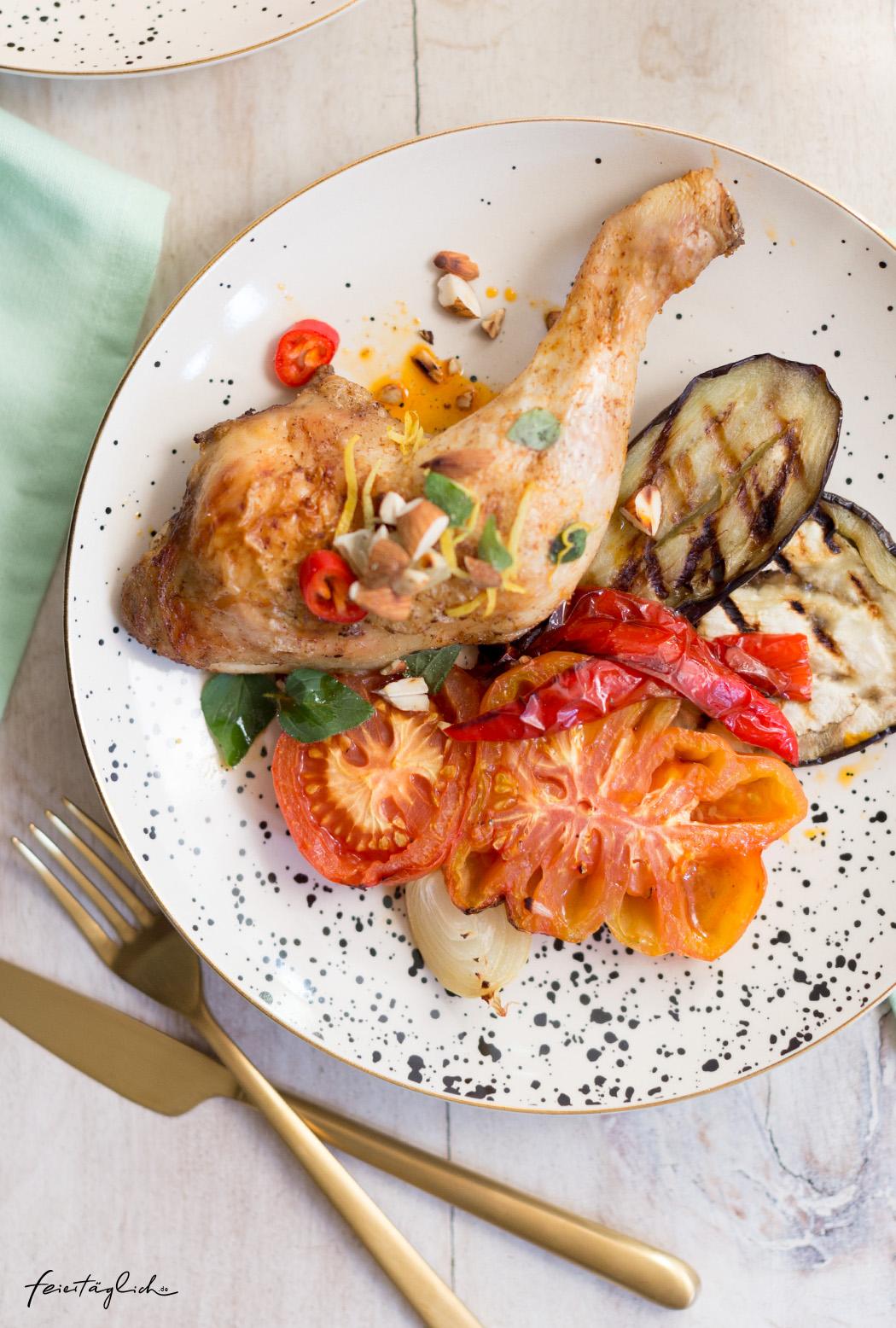 Smoked Paprika-Hähnchenkeulen aus dem Ofen mit Escalivada (spanischem Grillgemüse), Rezept, inspiriert von Gary Loen (The Taste Gewinner 2018) und Butaris Küchenparty