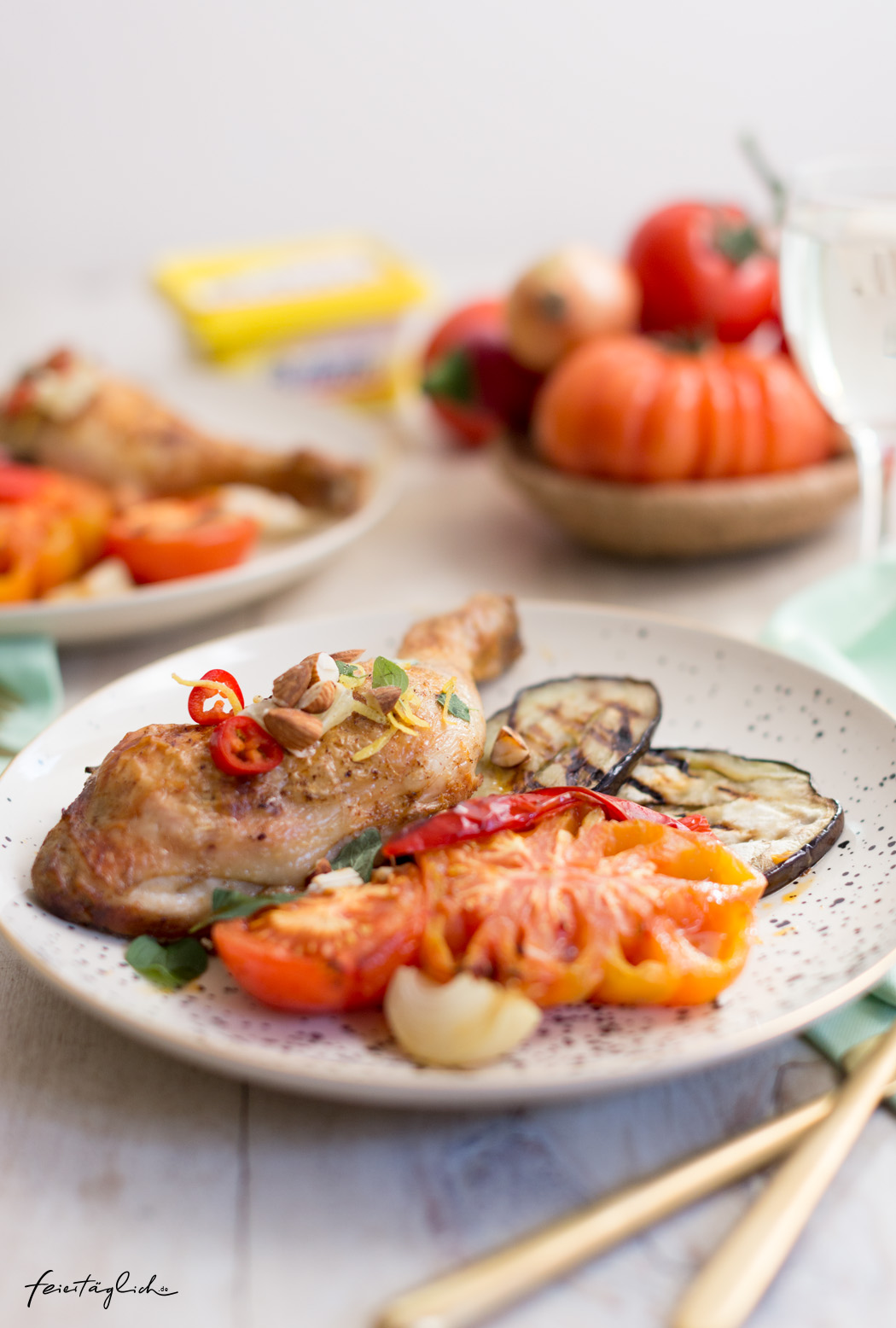 Smoked Paprika-Hähnchenkeulen aus dem Ofen mit Escalivada (spanischem Grillgemüse) inspiriert von Gary Loen (The Taste Gewinner 2018) und Butaris Küchenparty, Rezept