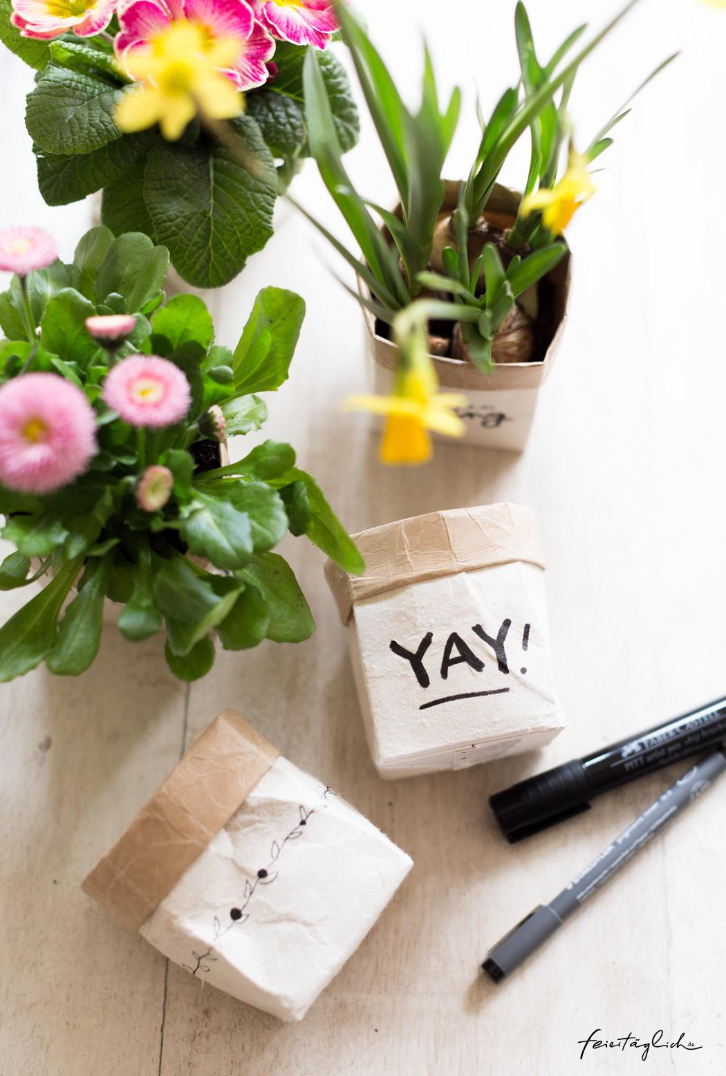 DIY Milchtüten Upcycling Planzentöpfe Frühlingsgrüße