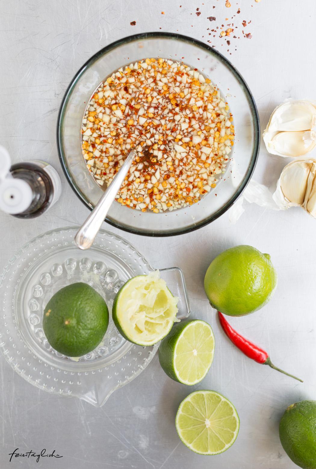 Rezept für Nuoc Cham, Vietnamesische Bun Bo mit Maultaschen, Rezept für einen leckeren Glasnudelsalat in der Bowl, Zubereitung