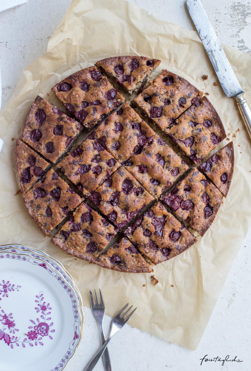 Kirsch-Schoko-Kuchen oder versunkener Kirschkuchen mit Schokoraspeln oder einfach schneller Lieblingskuchen