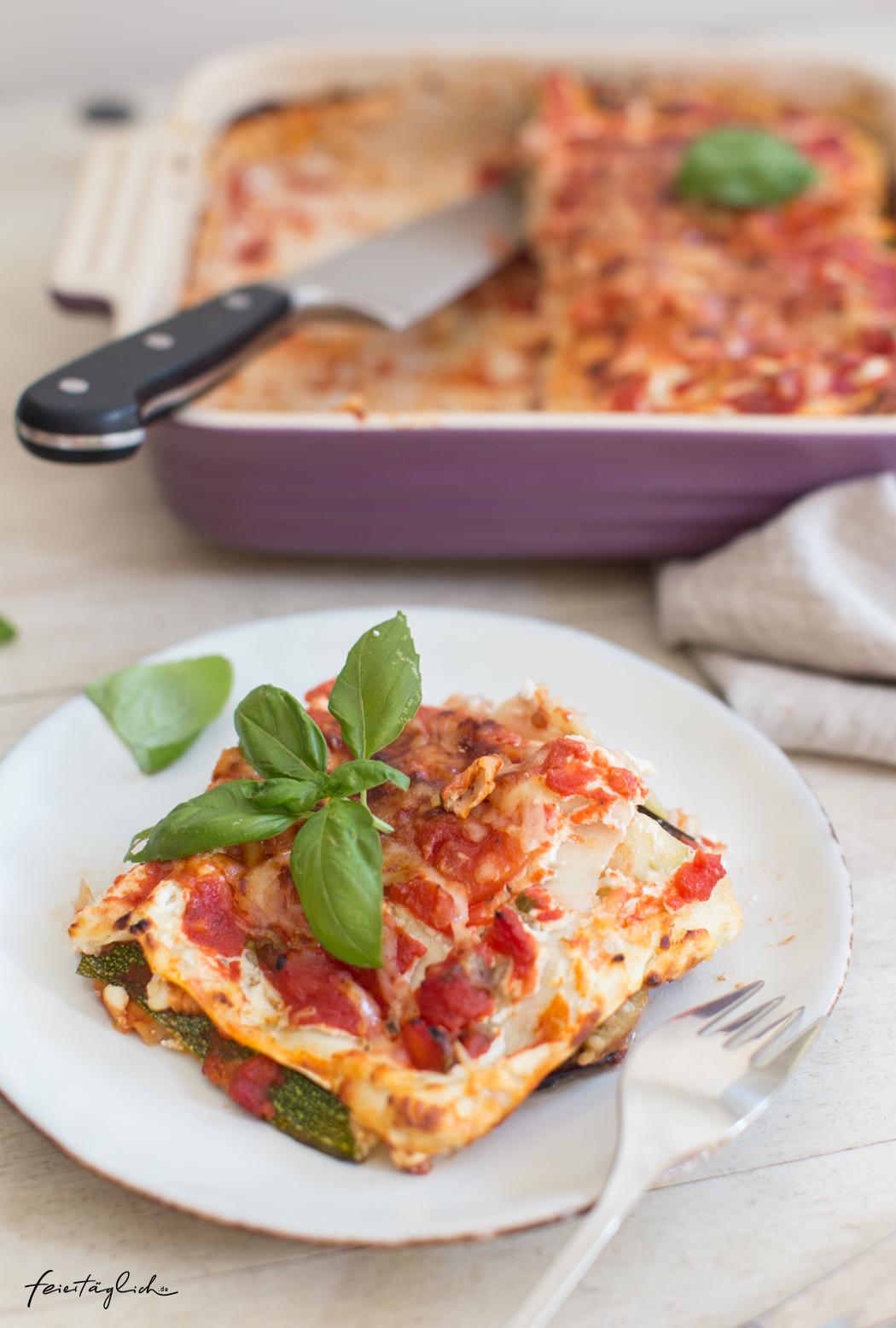 Die beste vegetarische Sommer-Lasagne mit Auberginen, Zucchini, Ricotta und Basilikum, ein ganz unkompliziertes Rezept