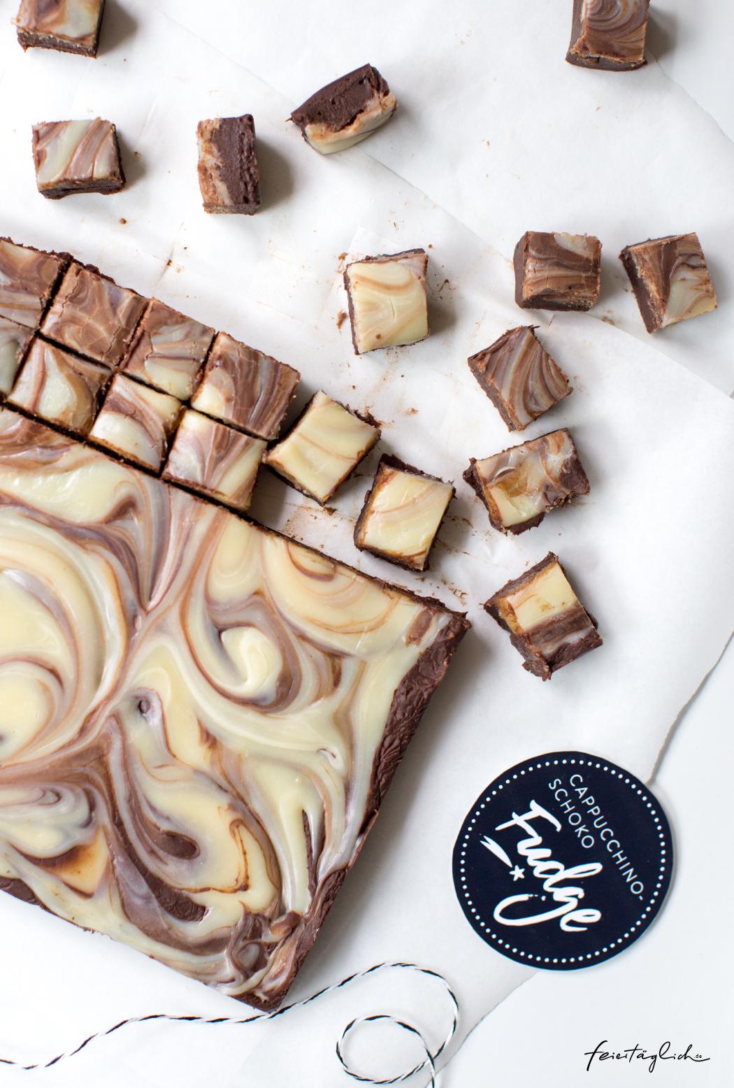 Cappuccino-Schoko-Fudge, schnelles Last-Minute Geschenk aus der Küche. Rezept und Free Printable Labels