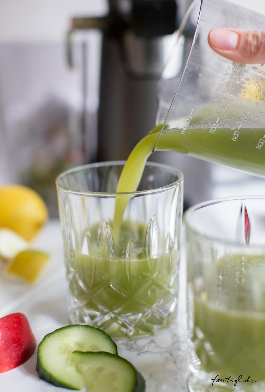 KickStart ins neue Jahr mit frischem Gurke-Apfel-Ingwer-Zitrone Saft, grüner Ingwer-Shot als Boost fürs Immunsystem