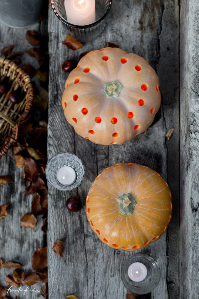 Stimmungsvolle Kürbis-Lichter – ein Herbst DIY, Kürbis-Laternen, Dekoration zu Halloween