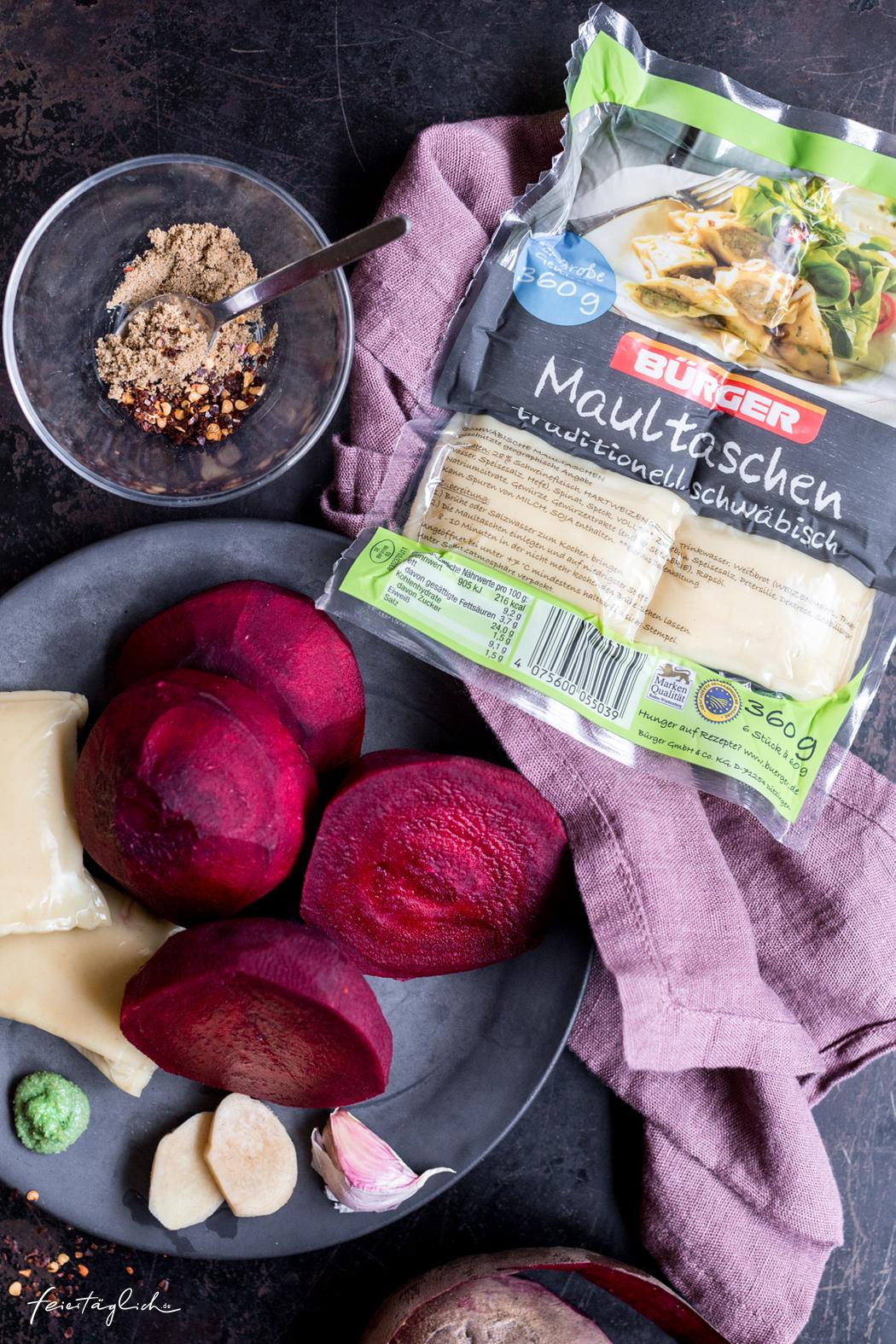 BÜRGER Maultaschen, Wärmende Rote Beete-Suppe mit Wasabi-Popcorn, Kokosschaum und Maultaschen-Spieß, Zutaten