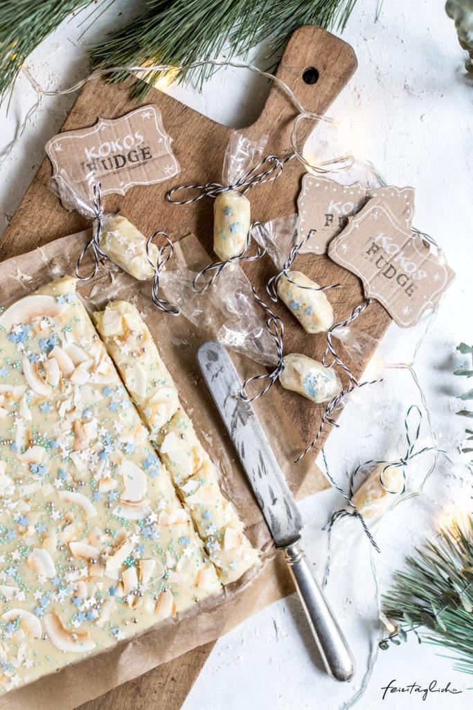 Kokos-Fudge – Rezept für ein schnelles Geschenk aus der Küche