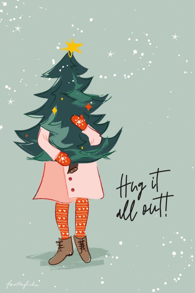 Grafik-Design Weihnachtskarte  Hug it all out