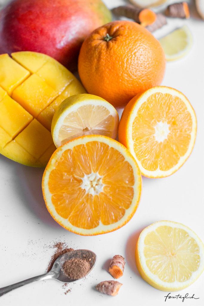 Kurkuma-Mango-Orangen-Smoothie Immunbooster– Rezept