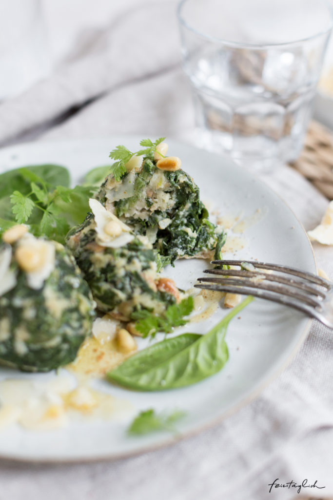Spinat-Knödel mit gebräunter Butter & Parmesan, Rezept