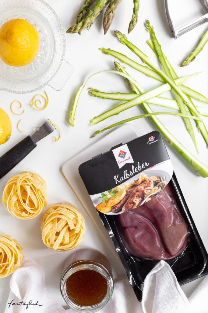 Gebratene Kalbsleber auf Spargel-Tagliatelle mit zitroniger Sauce, Zutaten VanDrie Group
