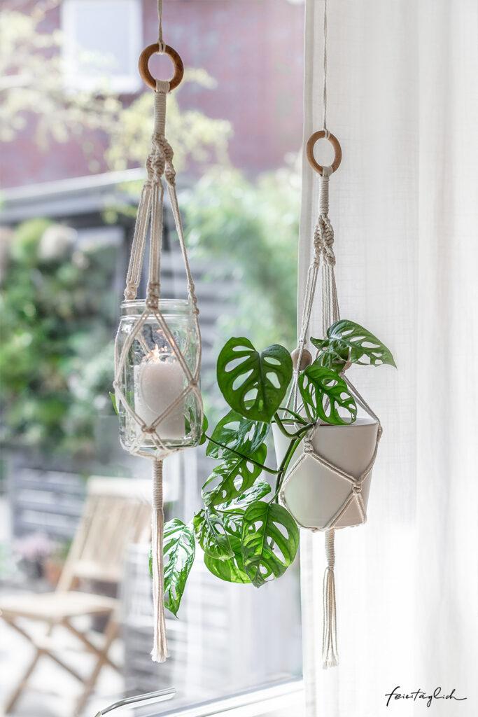 Makramee Blumenampel einfach selbstgemacht – DIY Flower-Hanging