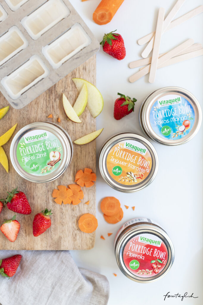 Rezept für bunte Porridge-Popsicles - gesundes & veganes Eis am Stiel zum Frühstück