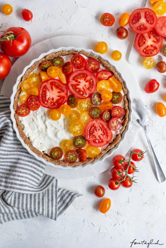 Rezept für schnelle Tomaten-Tarte mit Feta