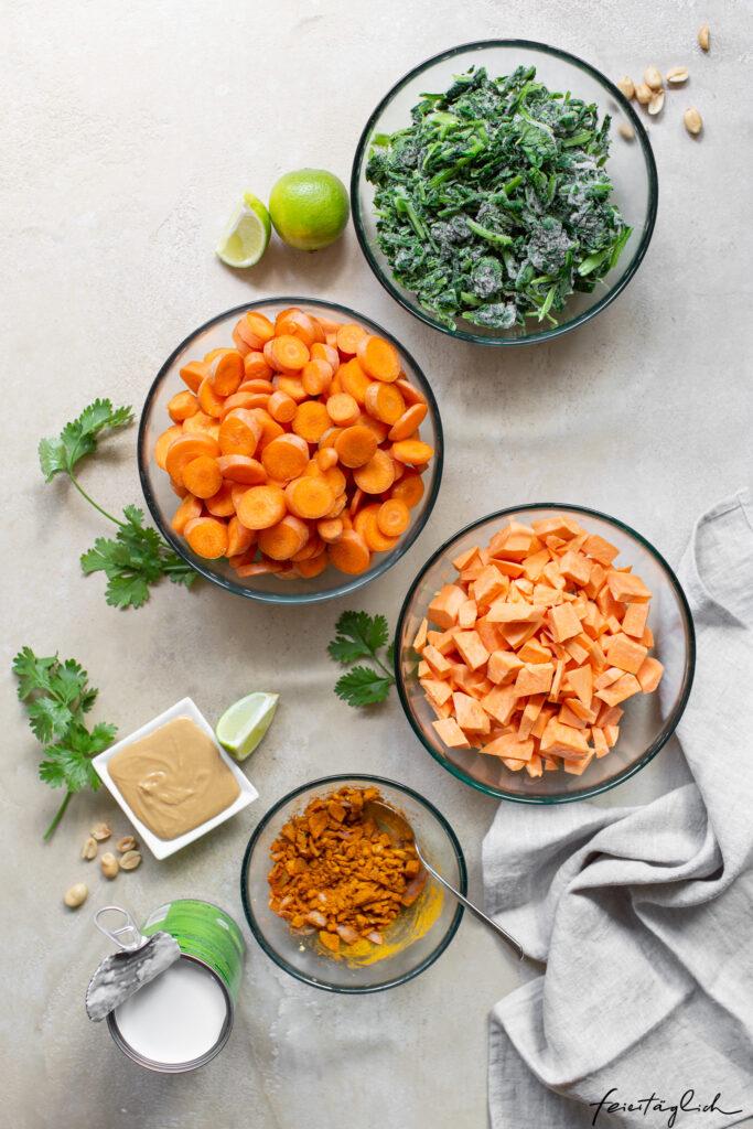 Karotten-Süßkartoffel-Erdnuss-Curry – einfaches vegetarisches Wohlfühlessen, Zutaten
